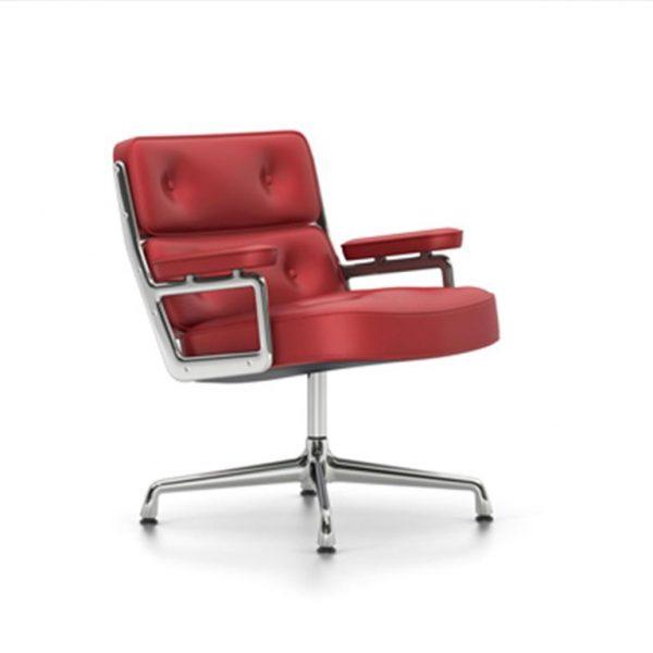 Lobby-Chair-ES-105Red-LeatherChrome-Base