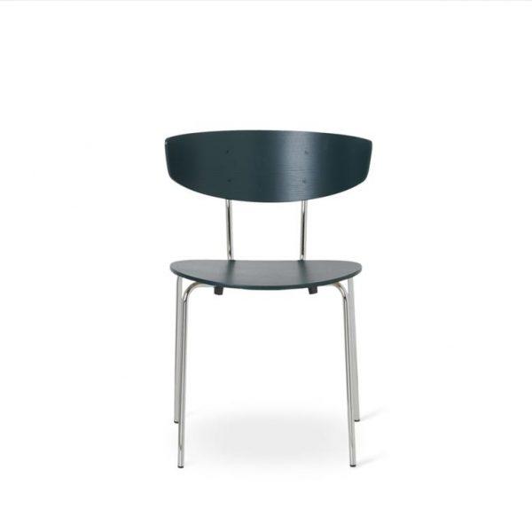 Herman-Dining-Chair-Dark-GreenChrome-Base
