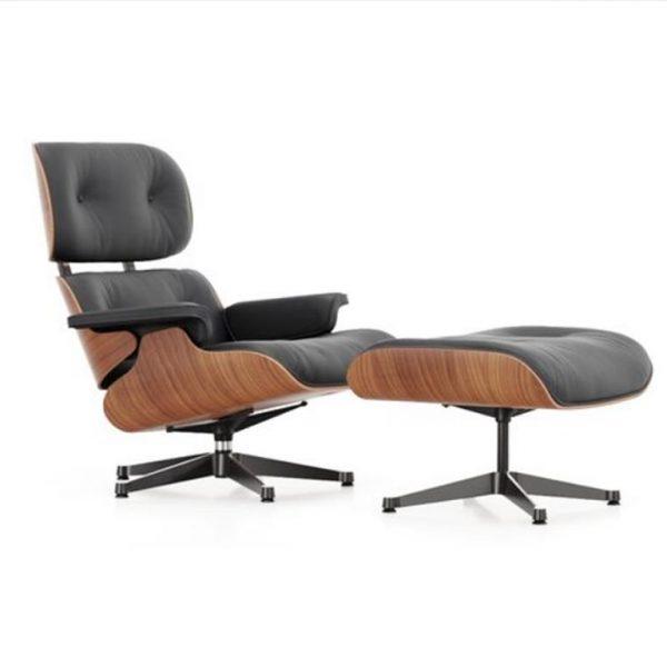 Lounge-Chair-Ottoman-American-Cherry-Black-Leather-Premium